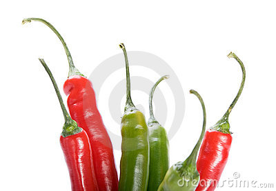 Red and green  chilly peppers  on white background