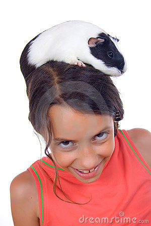 Young girl with guinea pig