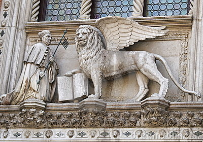 Winged lion with the book