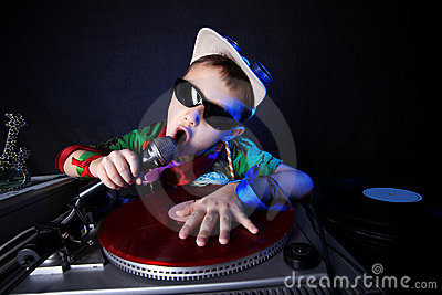 Cool kid DJ in action