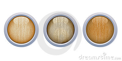 Light Glossy Wooden Buttons with metal ring
