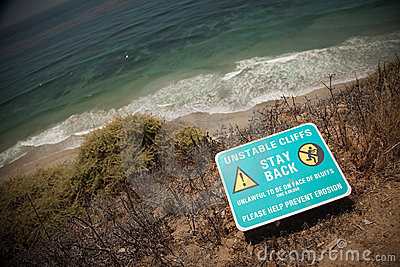 Stay Back Warning Sign at Cliff Edge