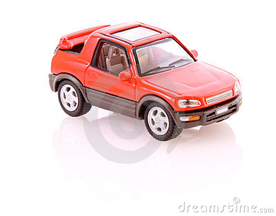 Red toy car isolated