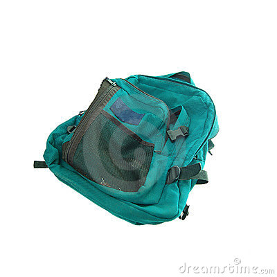 Green backpack isolated on white