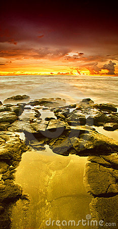 Golden sunset of Hawaii