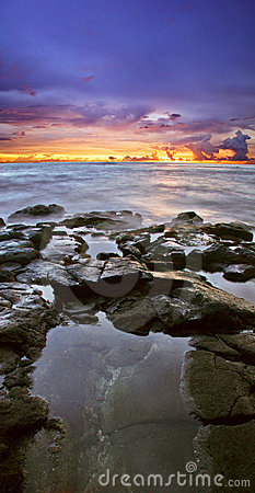 Pink sunset of Hawaii
