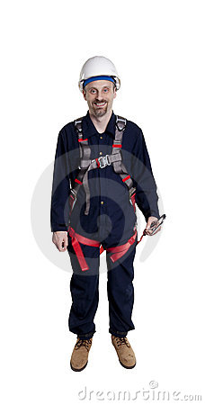 Man wearing fall protection