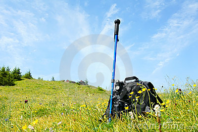 Alpenstock and backpack