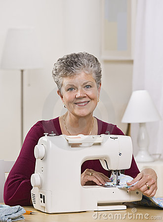 Woman on Sewing Machine