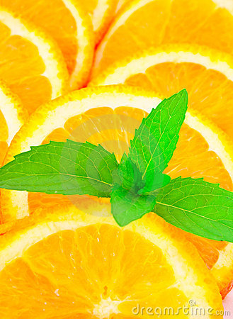 Many sliced oranges and plant