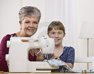 Grandaughter Sewing with Granddaughter