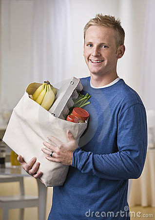 Man Holding Groceries