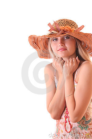 Beautiful woman in vintage hat isolated