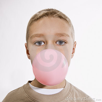 Boy Blowing Bubble with Bubble Gum