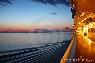 Sunrise on a cruise ship