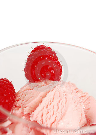 Bowl of fruity ice cream close-ups isolated