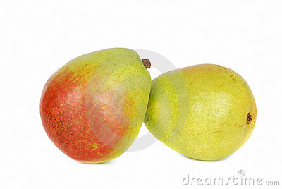 Two  green pears over white background.