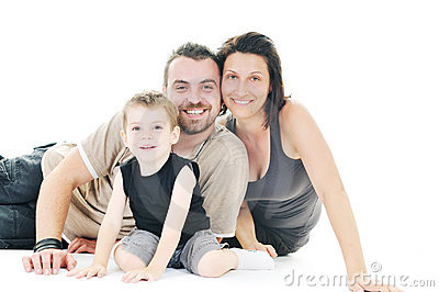Happy young family isolated on white