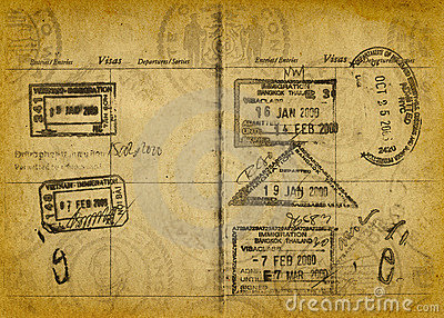 Vintage Grunge Passport Stamps