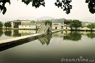 Hongcun, ancient village in china, moon bridge