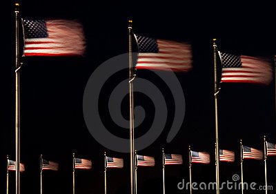 US Flags at Night