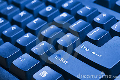 Blue computer keyboard