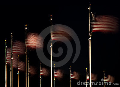 US flags fluttering