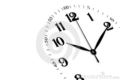 Clock isolated, time concept