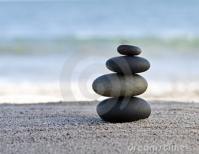Zen style stones by the ocean