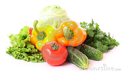 Peppers, tomato, cucumber and salad
