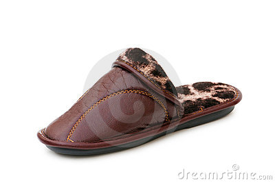 Leather slippers isolated