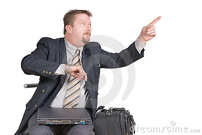 Pointing rushed businessman
