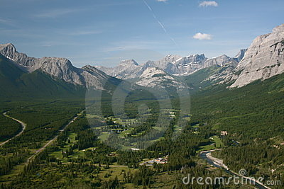 Canadian Rockies golf course aerial