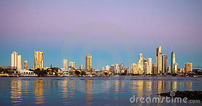 Surfers Paradise at sunset