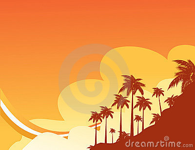 Summer design with palm trees