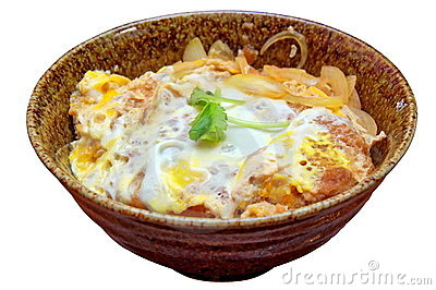 Japanese fried pork chop omelet