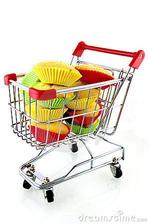 Shopping cart with muffins