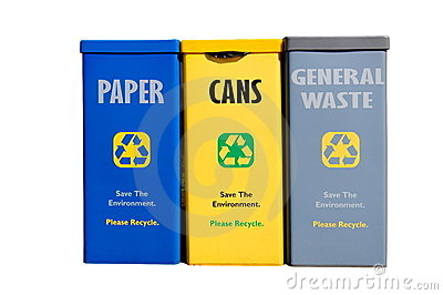 Recycling bins against white background