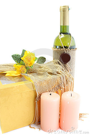 Wine, gift, candles