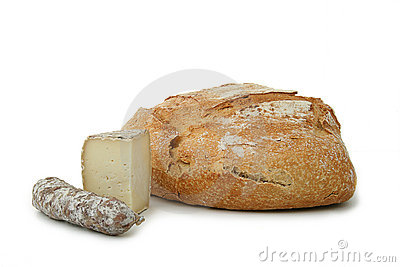 Bread, cheese and sausage