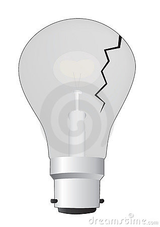 Cracked light bulb