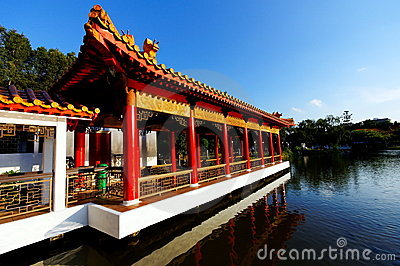 Chinese pavilion and walkway
