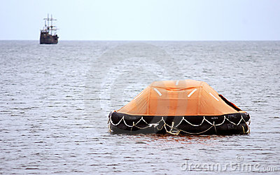 Inflatable lifeboat at sea