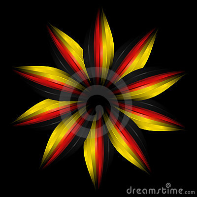 Abstract flower in German flag colours