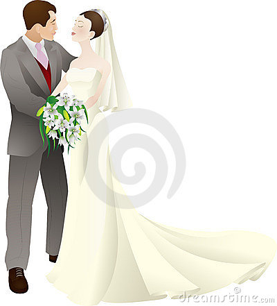 Bride and groom vector illustration