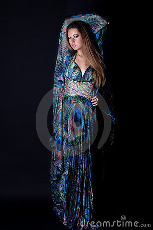 Young woman in beautiful long dress