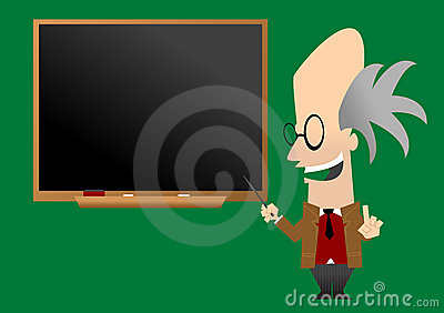 Professor in front of blackboard