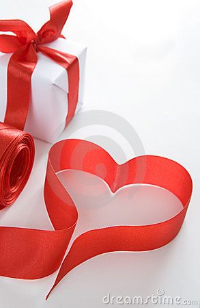 Red heart next to the gift