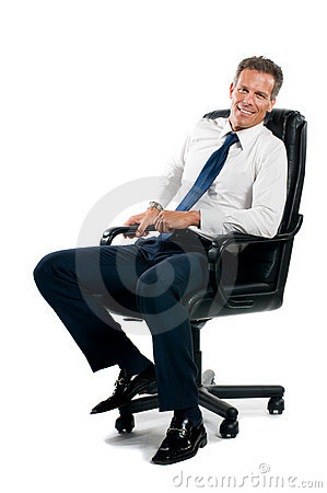 Smiling sit businessman