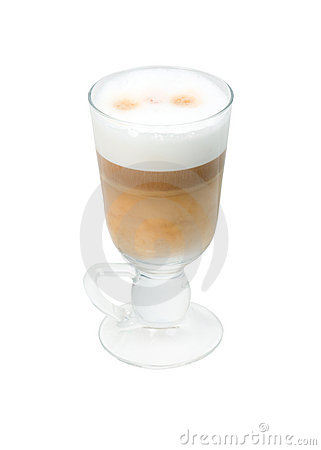 Late coffee in glass bowl  isolated